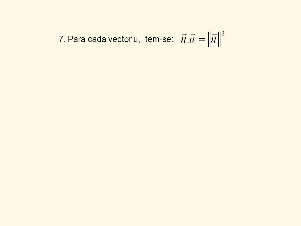 7. Para cada vector u, tem-se:
