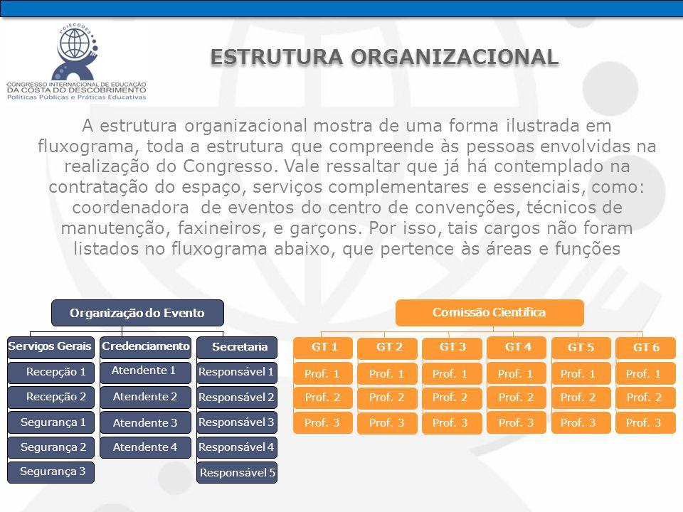 A estrutura organizacional mostra de uma forma ilustrada em fluxograma, toda a estrutura que compreende às pessoas envolvidas na realização do Congresso.