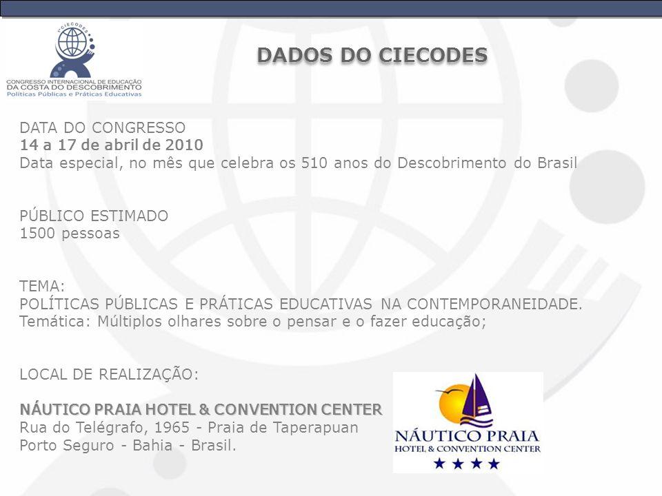 DATA DO CONGRESSO 14 a 17 de abril de 2010 Data especial, no mês que celebra os 510 anos do Descobrimento do Brasil PÚBLICO ESTIMADO 1500 pessoas TEMA: POLÍTICAS PÚBLICAS E PRÁTICAS EDUCATIVAS NA CONTEMPORANEIDADE.