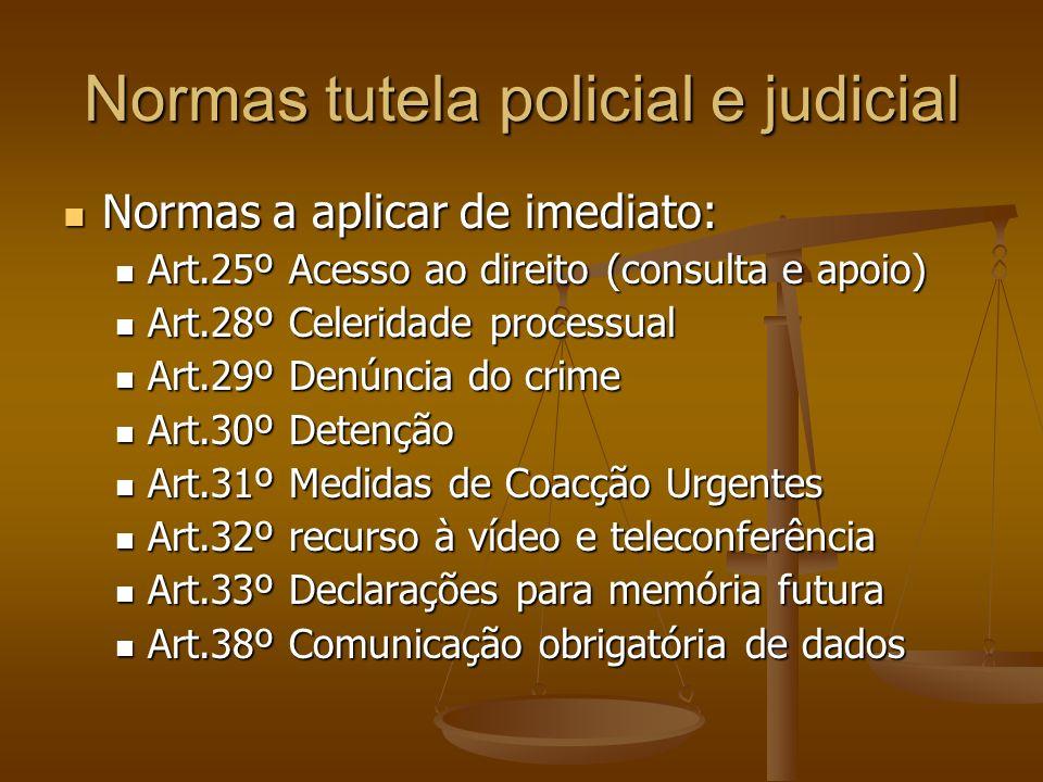 Normas tutela policial e judicial Normas a aplicar de imediato: Normas a aplicar de imediato: Art.25º Acesso ao direito (consulta e apoio) Art.25º Ace