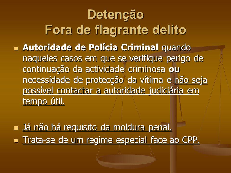 Detenção Fora de flagrante delito Autoridade de Polícia Criminal quando naqueles casos em que se verifique perigo de continuação da actividade crimino