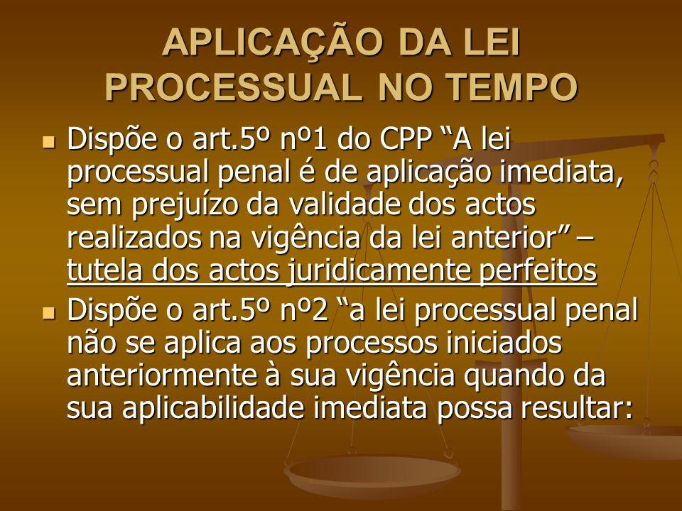 APLICAÇÃO DA LEI PROCESSUAL NO TEMPO Dispõe o art.5º nº1 do CPP A lei processual penal é de aplicação imediata, sem prejuízo da validade dos actos rea