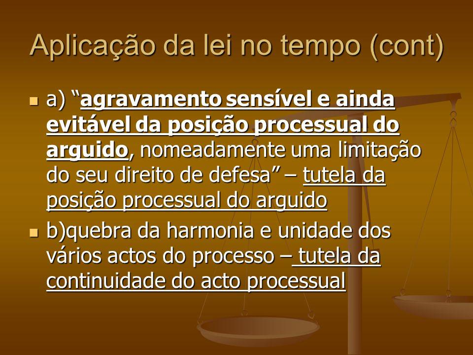 Aplicação da lei no tempo (cont) a) agravamento sensível e ainda evitável da posição processual do arguido, nomeadamente uma limitação do seu direito