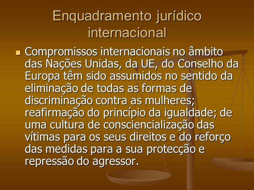 Enquadramento jurídico internacional Compromissos internacionais no âmbito das Nações Unidas, da UE, do Conselho da Europa têm sido assumidos no senti