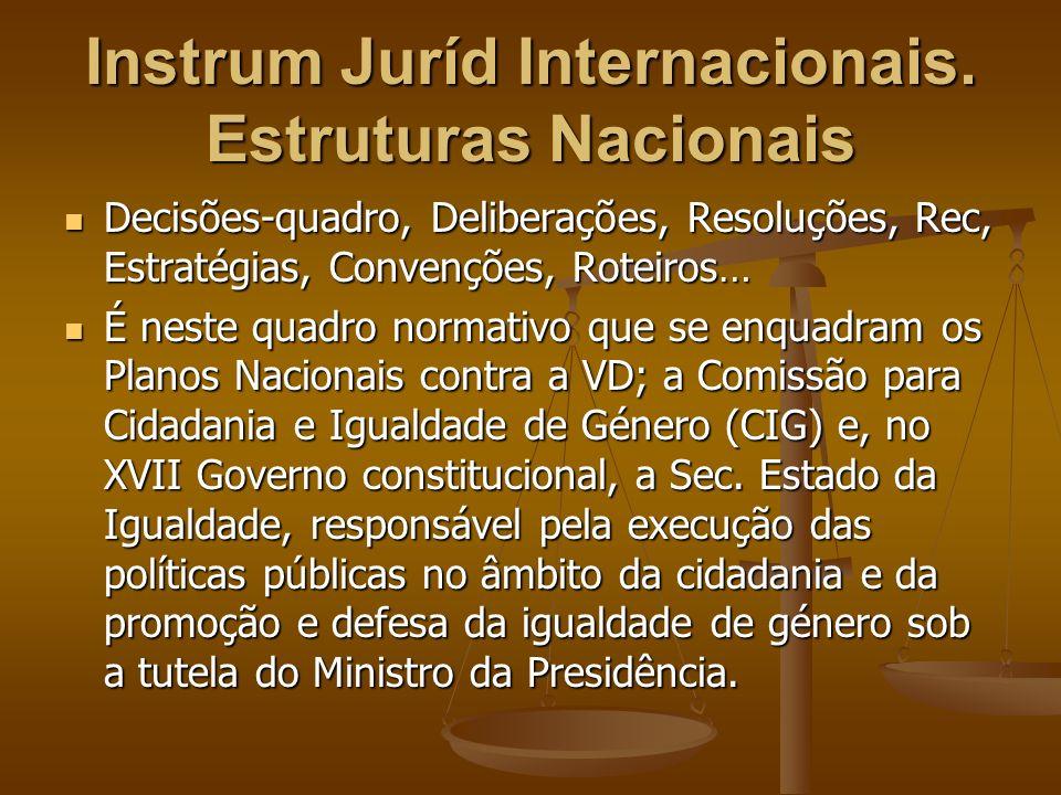 Instrum Juríd Internacionais. Estruturas Nacionais Decisões-quadro, Deliberações, Resoluções, Rec, Estratégias, Convenções, Roteiros… Decisões-quadro,