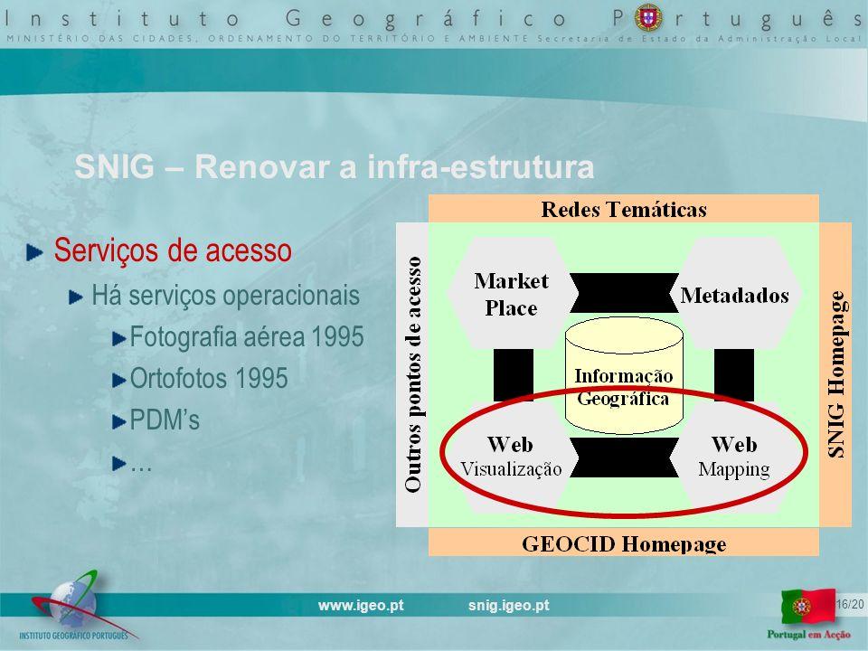 www.igeo.pt snig.igeo.pt 16/20 SNIG – Renovar a infra-estrutura Serviços de acesso Há serviços operacionais Fotografia aérea 1995 Ortofotos 1995 PDMs …