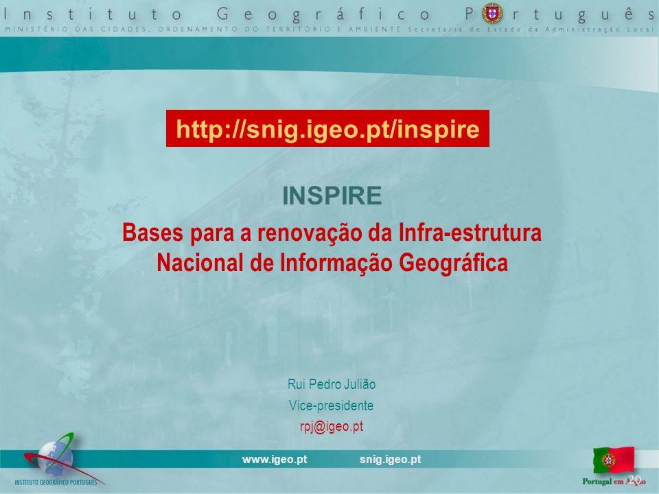INSPIRE Bases para a renovação da Infra-estrutura Nacional de Informação Geográfica Rui Pedro Julião Vice-presidente rpj@igeo.pt www.igeo.pt snig.igeo.pt 20 http://snig.igeo.pt/inspire