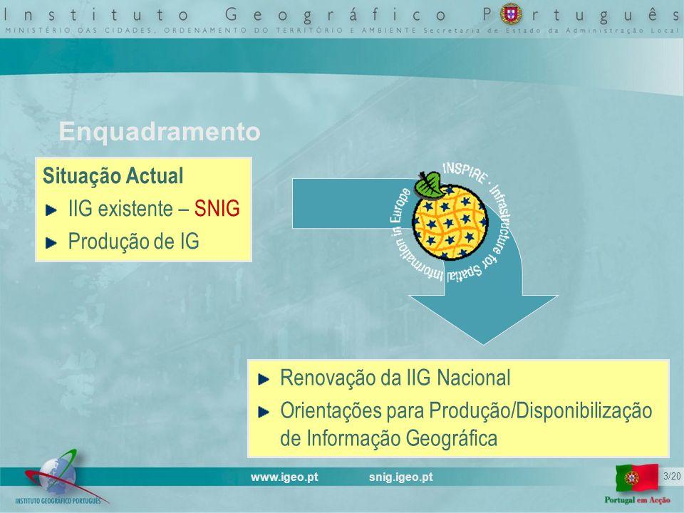 www.igeo.pt snig.igeo.pt 3/20 Enquadramento Situação Actual IIG existente – SNIG Produção de IG Renovação da IIG Nacional Orientações para Produção/Disponibilização de Informação Geográfica