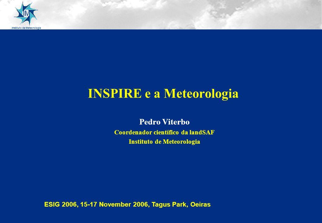 Instituto de Meteorologia INSPIRE e a Meteorologia Pedro Viterbo Coordenador científico da landSAF Instituto de Meteorologia ESIG 2006, 15-17 November