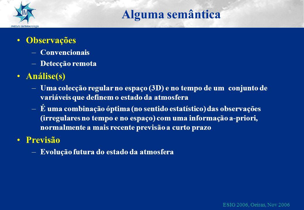 Instituto de Meteorologia ESIG 2006, Oeiras, Nov 2006 Alguma semântica Observações –Convencionais –Detecção remota Análise(s) –Uma colecção regular no