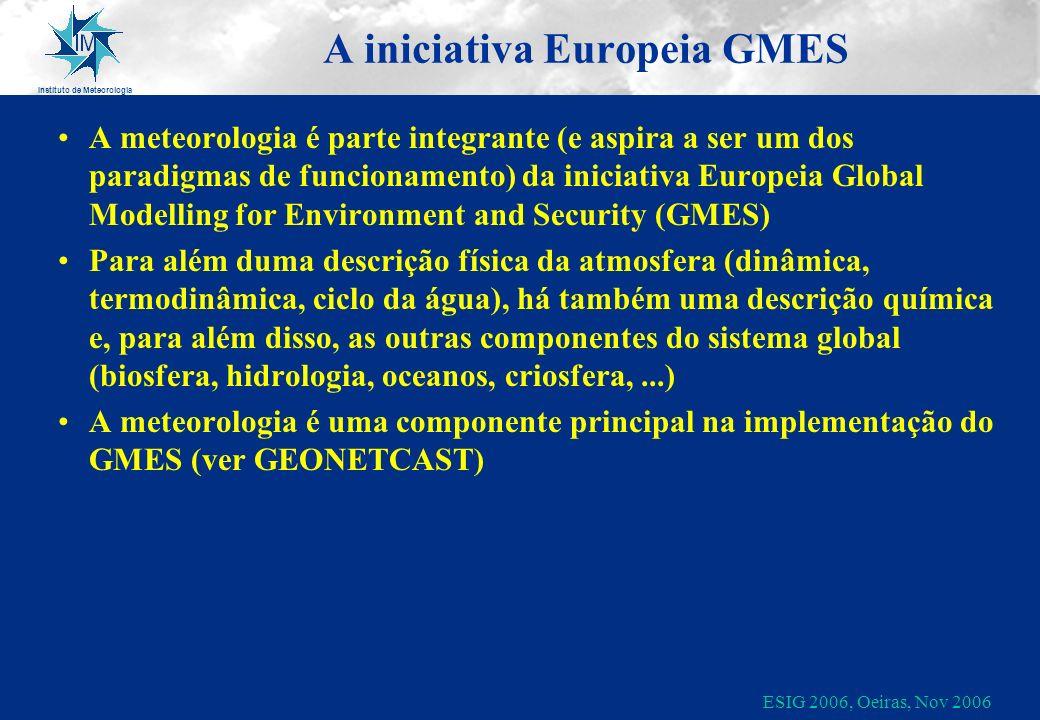 Instituto de Meteorologia ESIG 2006, Oeiras, Nov 2006 A iniciativa Europeia GMES A meteorologia é parte integrante (e aspira a ser um dos paradigmas d