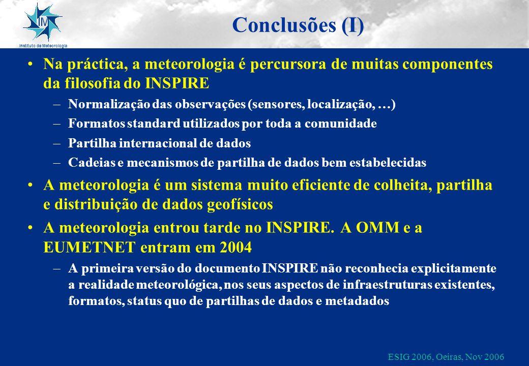 Instituto de Meteorologia ESIG 2006, Oeiras, Nov 2006 Conclusões (I) Na práctica, a meteorologia é percursora de muitas componentes da filosofia do IN