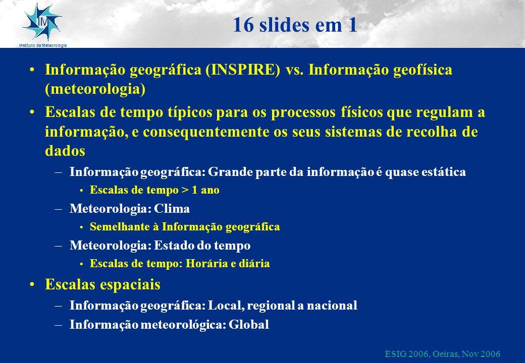 Instituto de Meteorologia ESIG 2006, Oeiras, Nov 2006 16 slides em 1 Informação geográfica (INSPIRE) vs. Informação geofísica (meteorologia) Escalas d