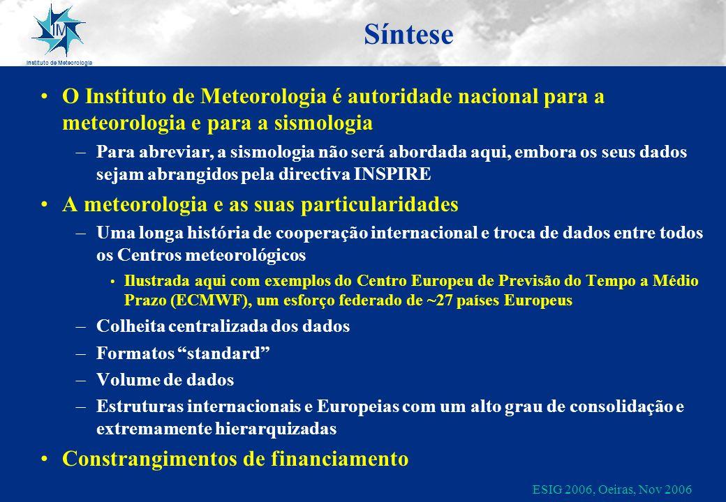 Instituto de Meteorologia ESIG 2006, Oeiras, Nov 2006 Síntese O Instituto de Meteorologia é autoridade nacional para a meteorologia e para a sismologi