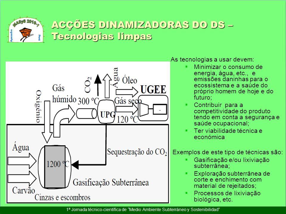 As tecnologias a usar devem: Minimizar o consumo de energia, água, etc., e emissões daninhas para o ecossistema e a saúde do próprio homem de hoje e d