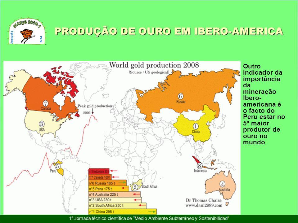 Outro indicador da importância da mineração Ibero- americana é o facto do Peru estar no 5º maior produtor de ouro no mundo PRODUÇÃO DE OURO EM IBERO-A