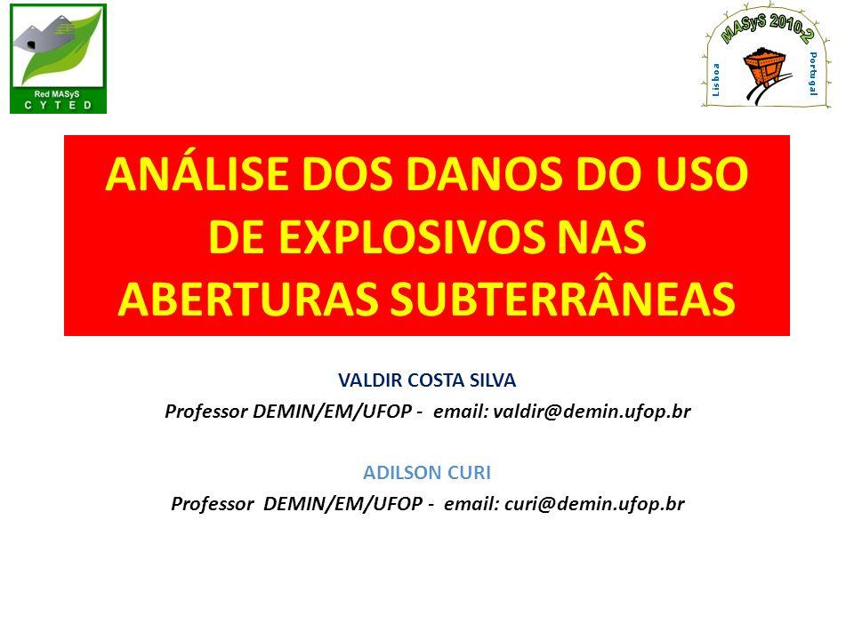 ANÁLISE DOS DANOS DO USO DE EXPLOSIVOS NAS ABERTURAS SUBTERRÂNEAS VALDIR COSTA SILVA Professor DEMIN/EM/UFOP - email: valdir@demin.ufop.br ADILSON CUR