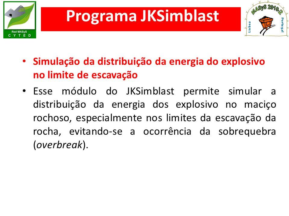 Simulação da distribuição da energia do explosivo no limite de escavação Esse módulo do JKSimblast permite simular a distribuição da energia dos explo