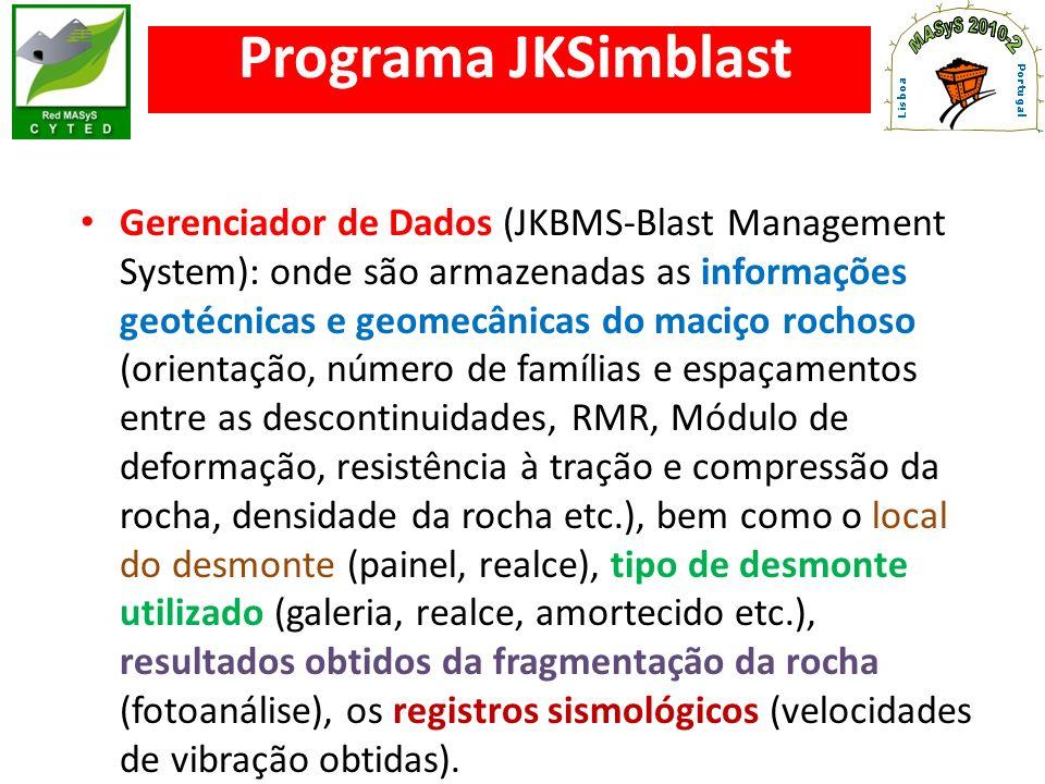 Programa JKSimblast Simulador da sequência de saída dos furos (galeria e realce) em função do tempo de retardo de cada espoleta.