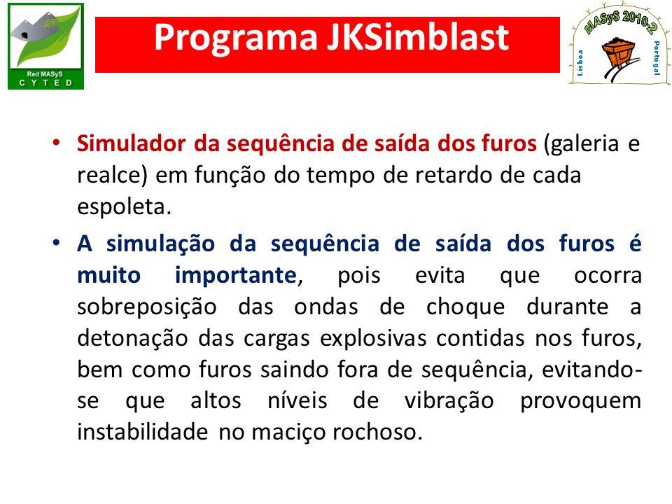 Programa JKSimblast Simulador da sequência de saída dos furos (galeria e realce) em função do tempo de retardo de cada espoleta. A simulação da sequên