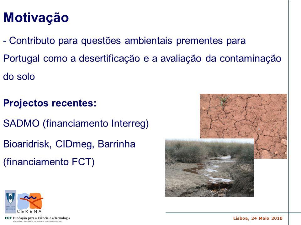 Lisboa, 24 Maio 2010 C E R E N A Motivação - Contributo para questões ambientais prementes para Portugal como a desertificação e a avaliação da contam