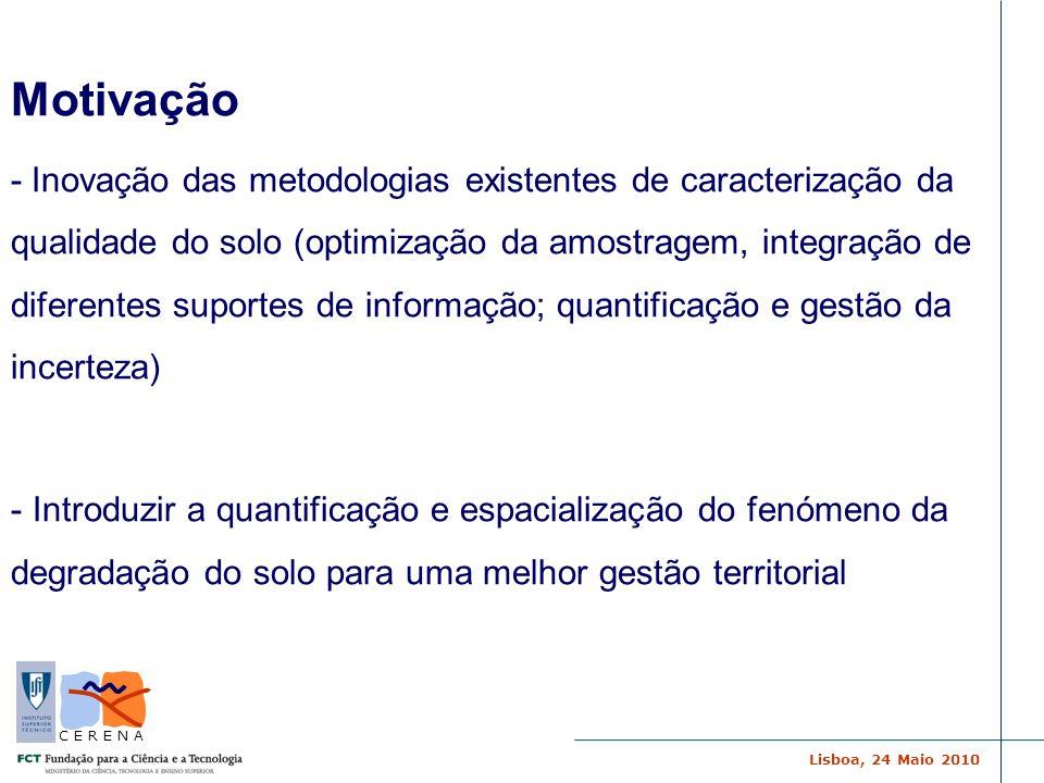 Lisboa, 24 Maio 2010 C E R E N A Motivação - Inovação das metodologias existentes de caracterização da qualidade do solo (optimização da amostragem, i