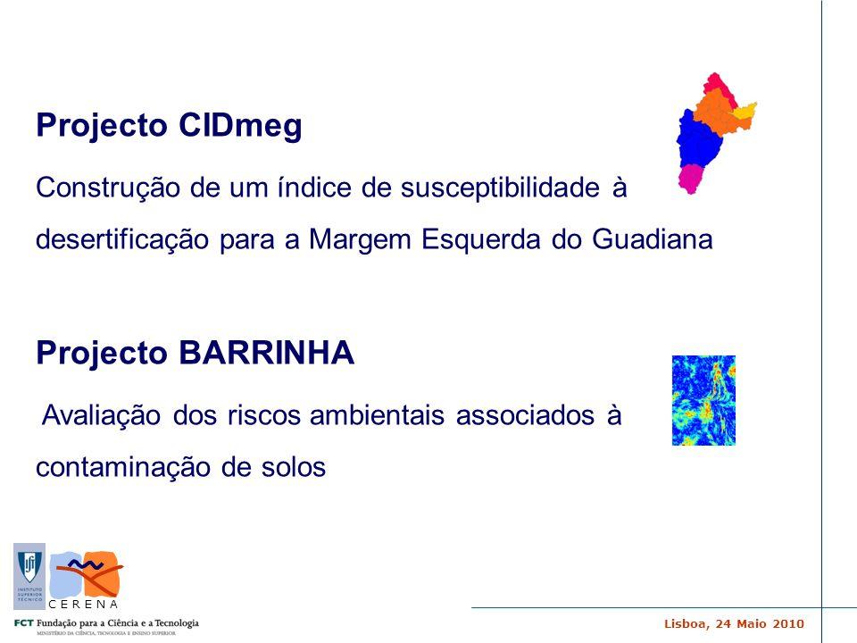 Lisboa, 24 Maio 2010 C E R E N A Projecto CIDmeg Construção de um índice de susceptibilidade à desertificação para a Margem Esquerda do Guadiana Proje