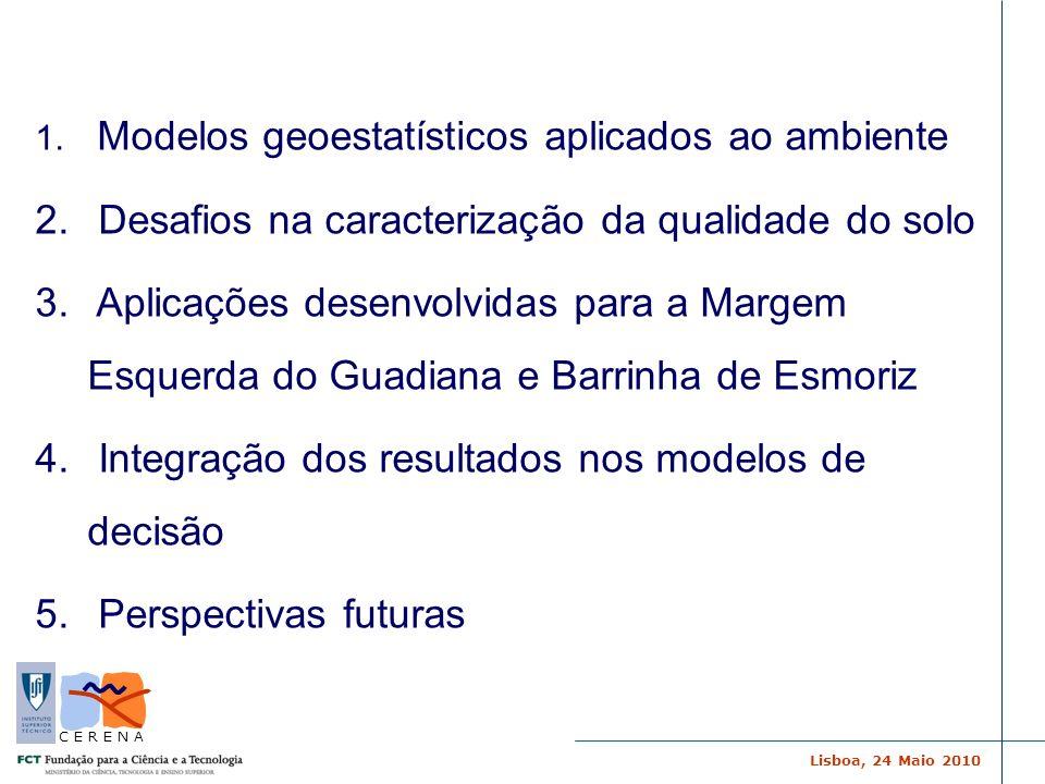 Lisboa, 24 Maio 2010 C E R E N A 1. Modelos geoestatísticos aplicados ao ambiente 2. Desafios na caracterização da qualidade do solo 3. Aplicações des