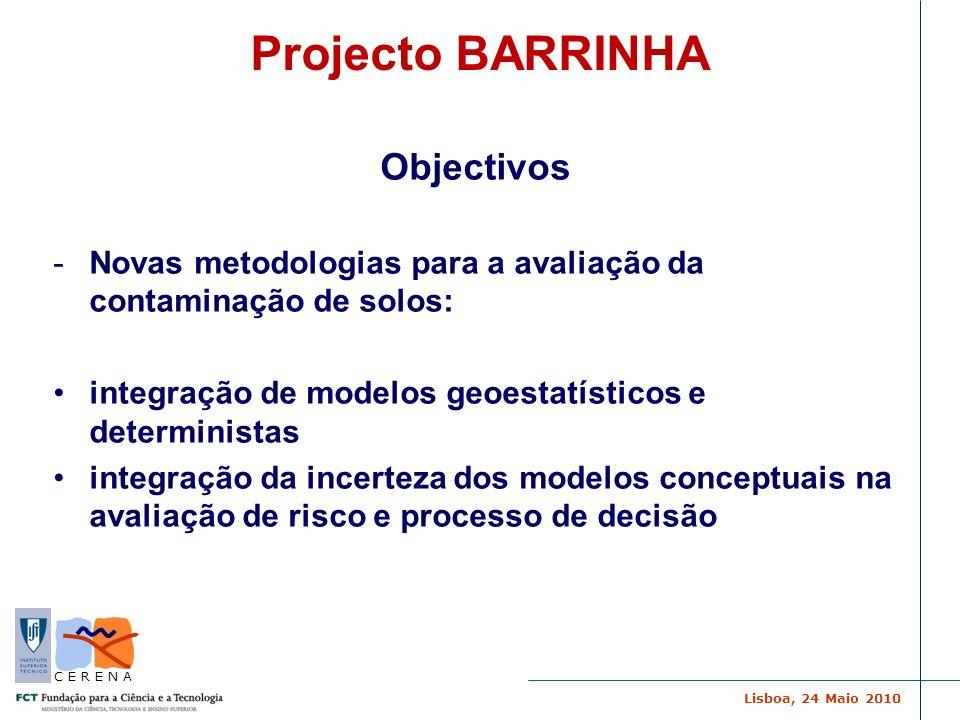 Lisboa, 24 Maio 2010 C E R E N A Objectivos -Novas metodologias para a avaliação da contaminação de solos: integração de modelos geoestatísticos e det