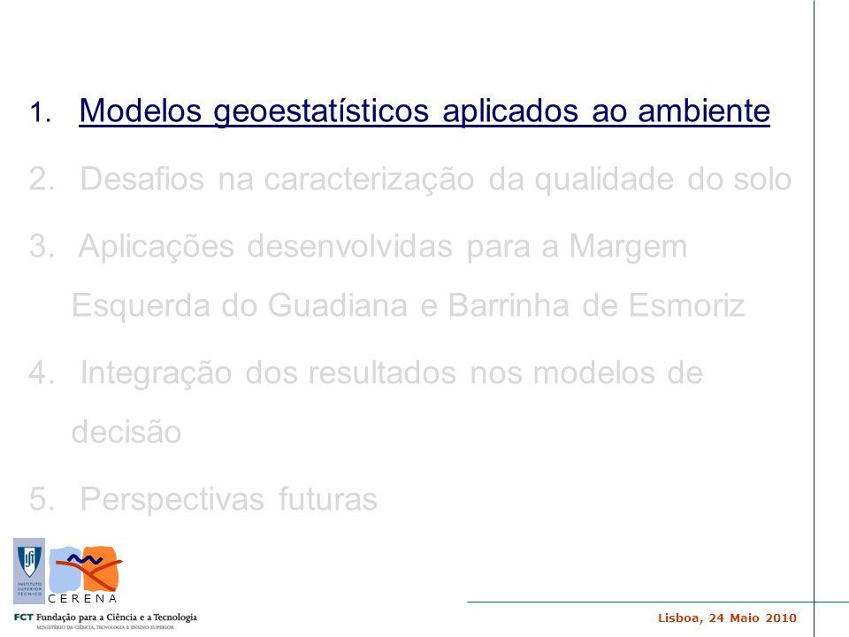 Lisboa, 24 Maio 2010 C E R E N A … precisamos obter um modelo da realidade… Modelos Geoestatísticos GEOESTATÍSTICA Análise do padrão espacial Modelos de Estimação Simulação de Imagens...