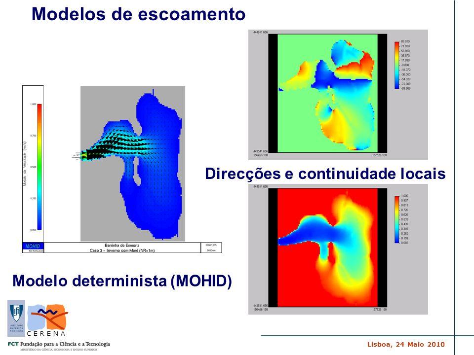 Lisboa, 24 Maio 2010 C E R E N A Modelo determinista (MOHID) Direcções e continuidade locais Modelos de escoamento
