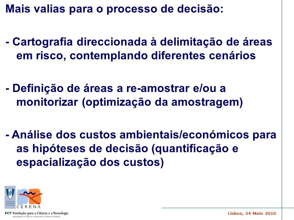 Lisboa, 24 Maio 2010 C E R E N A Mais valias para o processo de decisão: - Cartografia direccionada à delimitação de áreas em risco, contemplando dife
