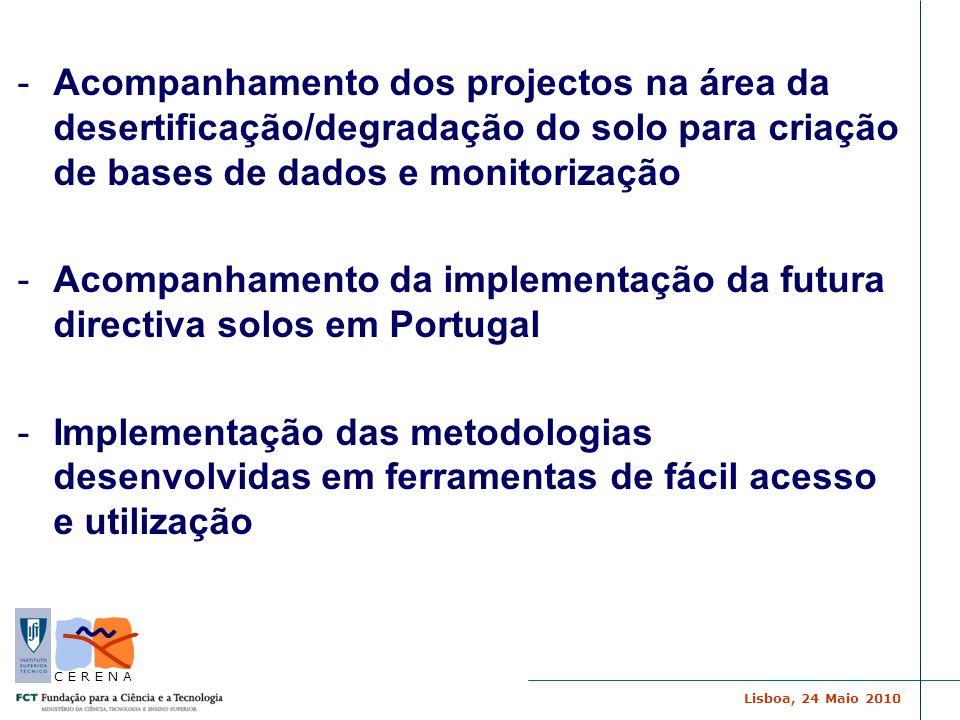 Lisboa, 24 Maio 2010 C E R E N A -Acompanhamento dos projectos na área da desertificação/degradação do solo para criação de bases de dados e monitoriz
