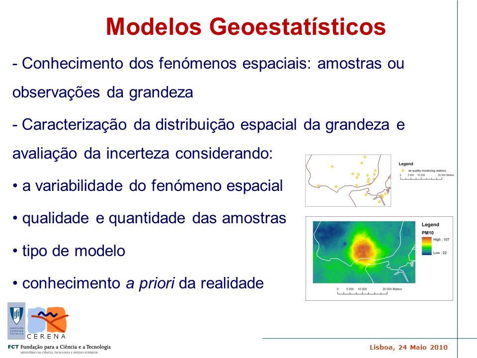 Lisboa, 24 Maio 2010 C E R E N A Estimação – inferência espacial das características médias de um recurso natural Simulação – distribuição espacial de um recurso natural dada pela continuidade espacial e lei de distribuição (imagens equiprováveis da realidade) Modelos Geoestatísticos