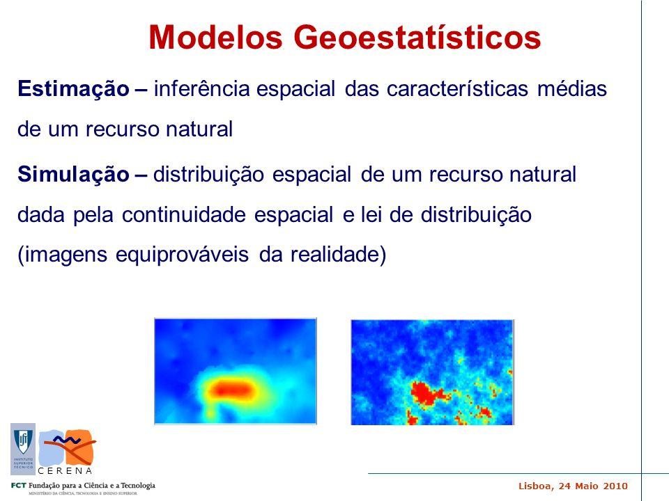 Lisboa, 24 Maio 2010 C E R E N A SSD com Anisotropias Locais para obter modelos conceptuais (modelos da realidade para re amostragem de novos conjuntos de amostras) Inexistência da integração da incerteza na fase inicial da avaliação da contaminação Simulação Sequencial Directa (SSD) Avaliação da incerteza para valores limite do poluente Projecto BARRINHA Inexistência da integração da incerteza no modelo conceptual da realidade (estacionariedade do fenómeno)