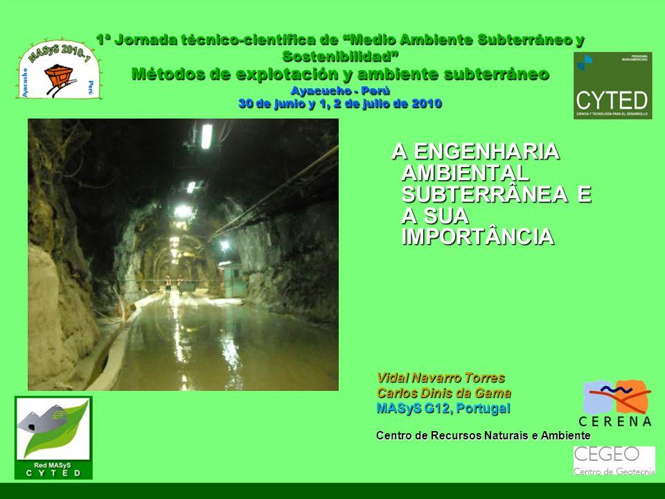 A ENGENHARIA AMBIENTAL SUBTERRÂNEA E A SUA IMPORTÂNCIA A ENGENHARIA AMBIENTAL SUBTERRÂNEA E A SUA IMPORTÂNCIA Vidal Navarro Torres Carlos Dinis da Gam