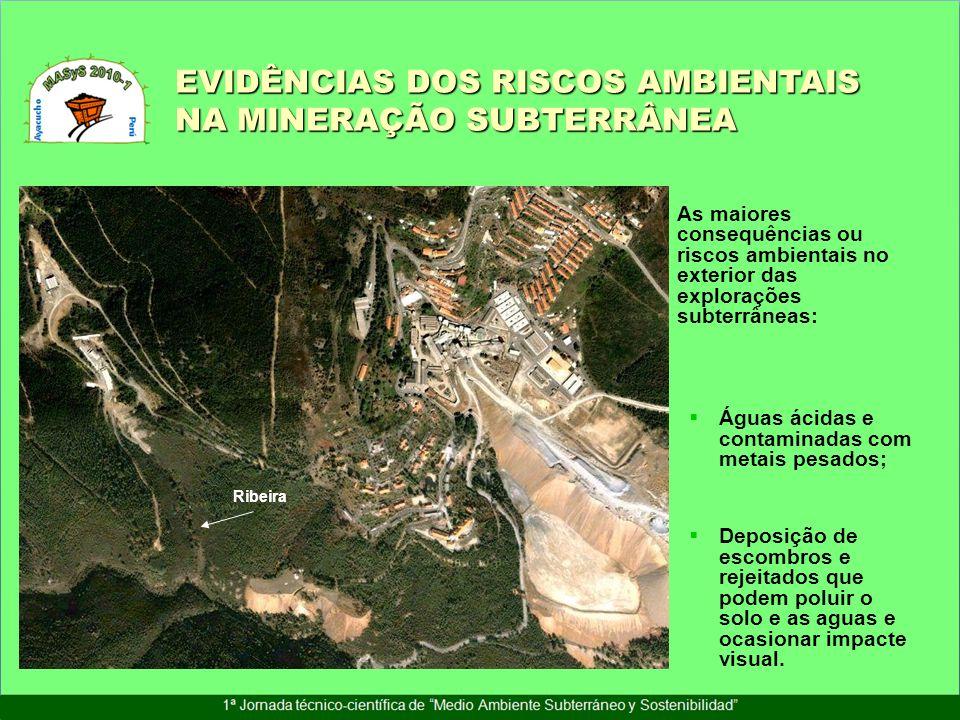 As maiores consequências ou riscos ambientais no exterior das explorações subterrâneas: Águas ácidas e contaminadas com metais pesados; Deposição de e