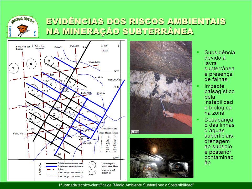 Subsidência devido á lavra subterrânea e presença de falhas Impacte paisagístico pela instabilidad e biológica na zona Desapariçã o das linhas d águas