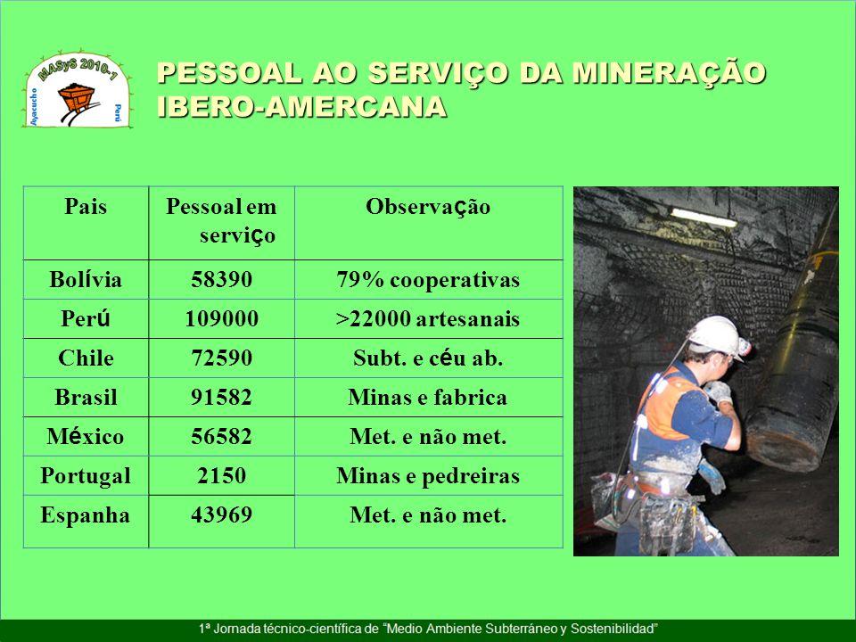 PaisPessoal em servi ç o Observa ç ão Bol í via 5839079% cooperativas Per ú 109000>22000 artesanais Chile72590 Subt. e c é u ab. Brasil91582Minas e fa