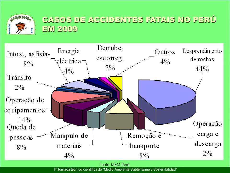 CASOS DE ACCIDENTES FATAIS NO PERÚ EM 2009 Fonte. MEM Perú