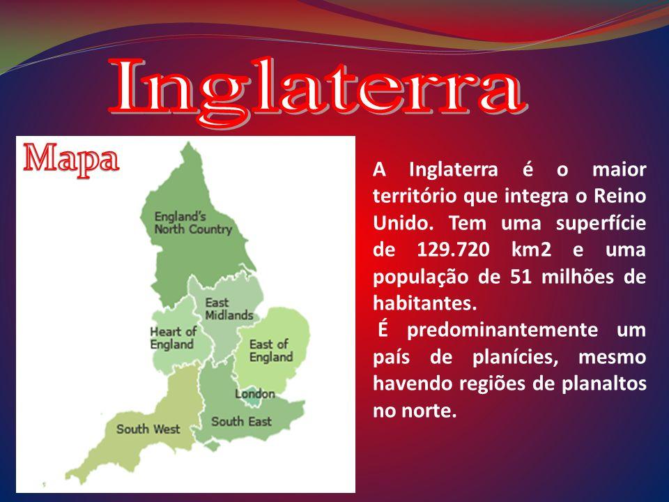A Inglaterra é o maior território que integra o Reino Unido. Tem uma superfície de 129.720 km2 e uma população de 51 milhões de habitantes. É predomin