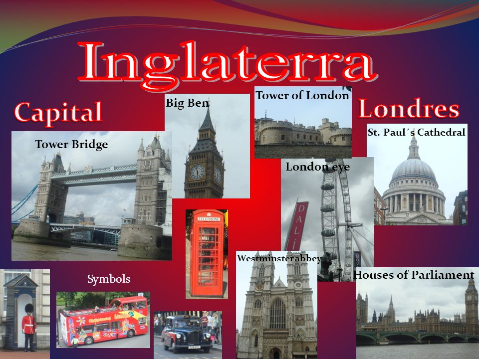 Tower Bridge Big Ben Tower of London London eye St. Paul´s Cathedral Westminster abbey Houses of Parliament Symbols