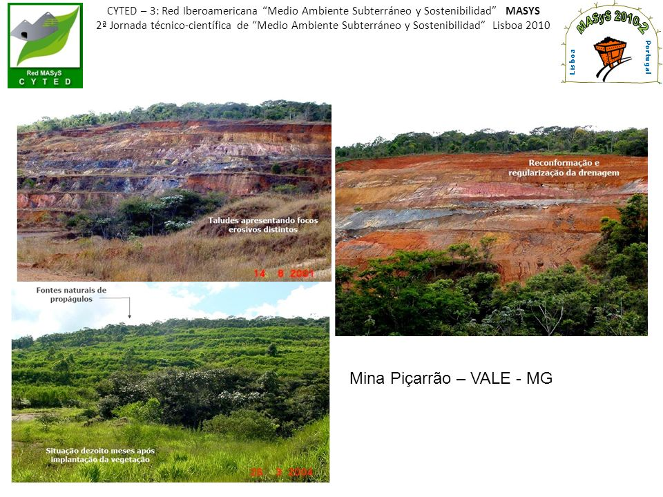 LAGO ÁGUAS CLARAS – VALE - Belo Horizonte MG CYTED – 3: Red Iberoamericana Medio Ambiente Subterráneo y Sostenibilidad MASYS 2ª Jornada técnico-científica de Medio Ambiente Subterráneo y Sostenibilidad Lisboa 2010