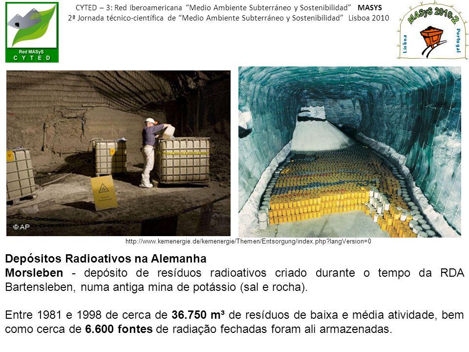 http://www.kernenergie.de/kernenergie/Themen/Entsorgung/index.php?langVersion=0 Depósitos Radioativos na Alemanha Morsleben - depósito de resíduos rad
