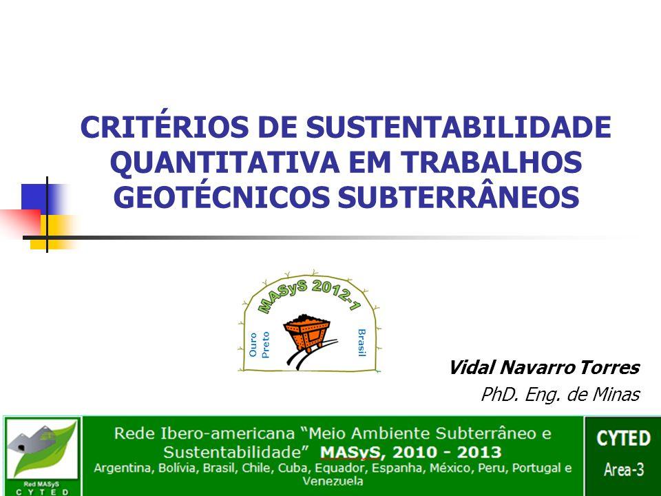 CRITÉRIOS DE SUSTENTABILIDADE QUANTITATIVA EM TRABALHOS GEOTÉCNICOS SUBTERRÂNEOS Vidal Navarro Torres PhD. Eng. de Minas