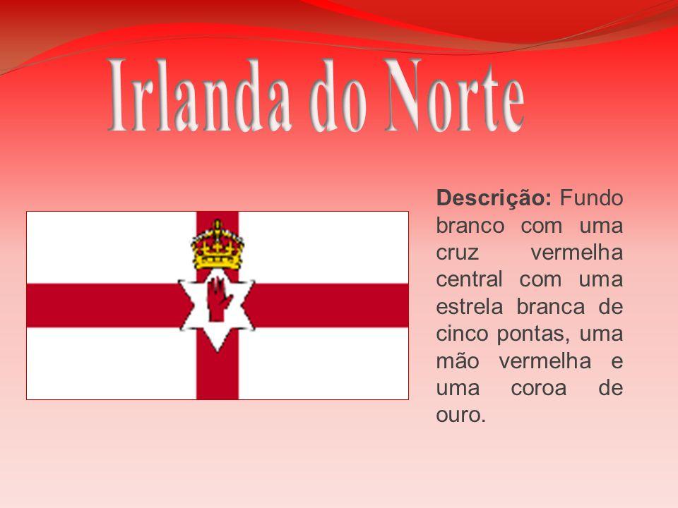 Descrição: Fundo branco com uma cruz vermelha central com uma estrela branca de cinco pontas, uma mão vermelha e uma coroa de ouro.