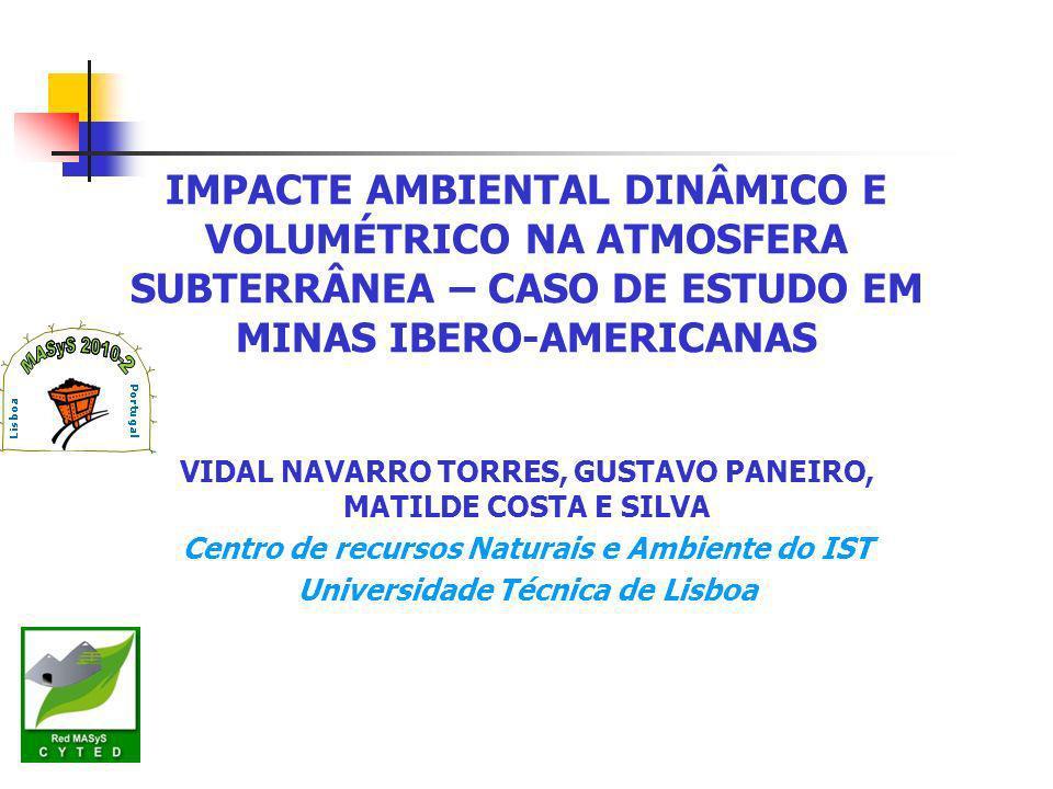 IMPACTE AMBIENTAL DINÂMICO E VOLUMÉTRICO NA ATMOSFERA SUBTERRÂNEA – CASO DE ESTUDO EM MINAS IBERO-AMERICANAS VIDAL NAVARRO TORRES, GUSTAVO PANEIRO, MATILDE COSTA E SILVA Centro de recursos Naturais e Ambiente do IST Universidade Técnica de Lisboa