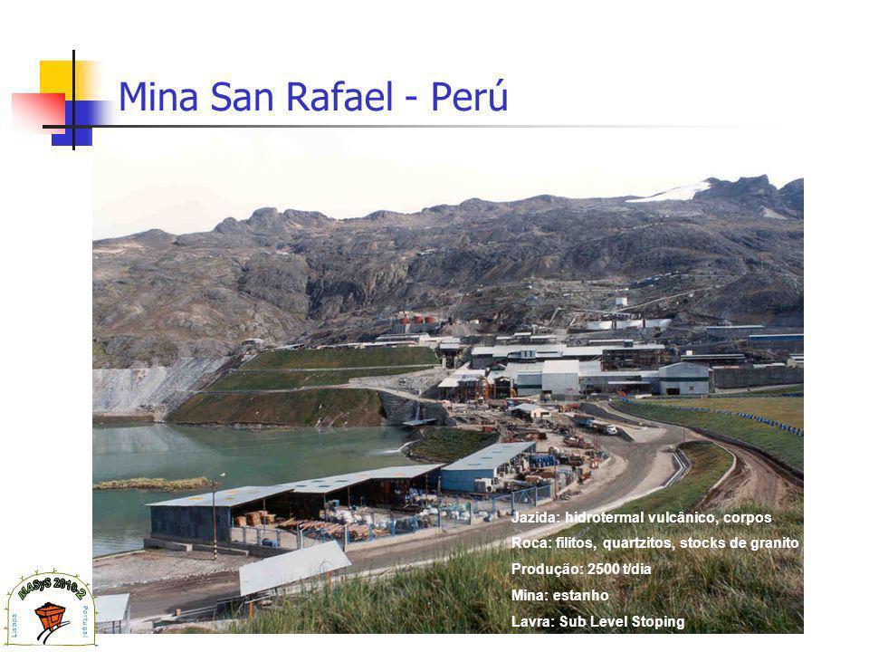 Mina San Rafael - Perú Jazida: hidrotermal vulcânico, corpos Roca: filitos, quartzitos, stocks de granito Produção: 2500 t/dia Mina: estanho Lavra: Sub Level Stoping