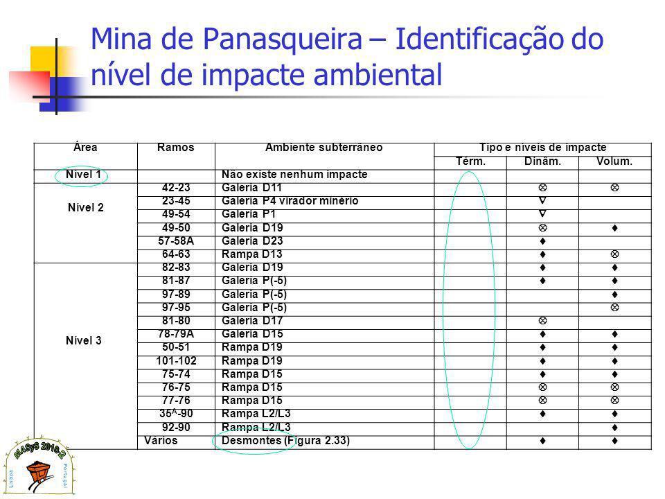 Mina de Panasqueira – Identificação do nível de impacte ambiental ÁreaRamosAmbiente subterrâneoTipo e níveis de impacte Térm.Dinâm.Volum.