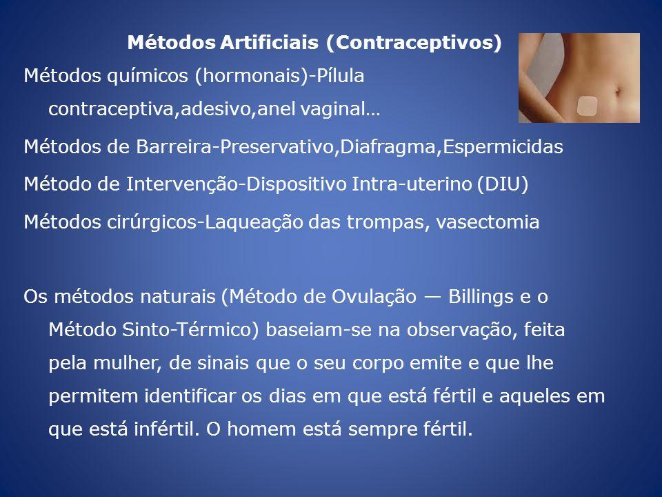 Métodos Artificiais (Contraceptivos) Métodos químicos (hormonais)-Pílula contraceptiva,adesivo,anel vaginal… Métodos de Barreira-Preservativo,Diafragm